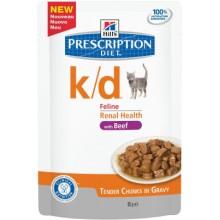 Паучи Hill's  Prescription Diet Feline k/d для кошек постоянно страдающих заболеваниями почек