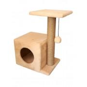 Cat House когтеточка домик с боковой полкой джут