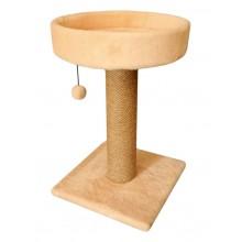 Cat House когтеточка столбик с круглой лежанкой джут